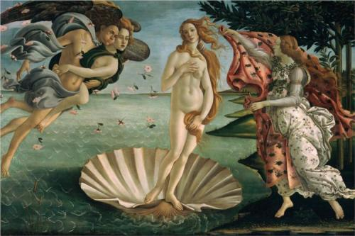 imagen: Wikipaintings.org  artista: Sandro Botticelli,  ''El Nacimiento de Venus''