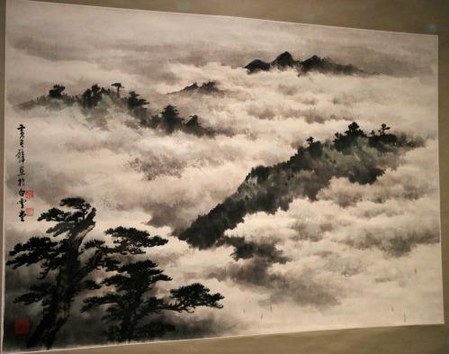 Paisaje de montaña brumosa, tinta sobre papel     artista: Huang Junbi(1898-1991)       foto: Virginia Blanco