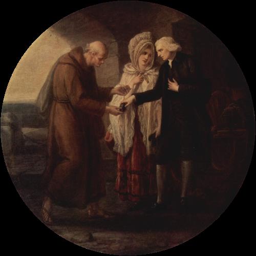 """imagen: Wikipedia.org artista: Angélica Kauffmann, """"El monje de Calais"""", 1780"""