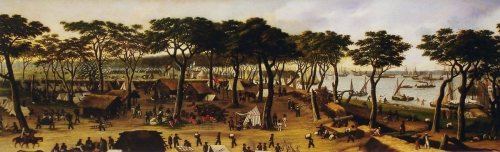 """imagen: Arteargentino.educ.ar artista: Cándido López  """"Vista interior de Curuzú (mirada aguas arriba norte a sur, el 20 de septiembre de 1866)"""" , 1891"""