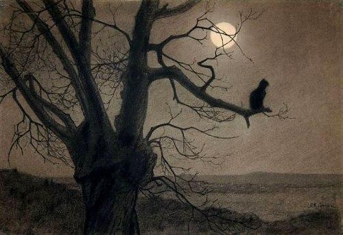 imagen: Decadences.net artista: Theophile Steinlen (1859-1923) Gato en el claro de luna,