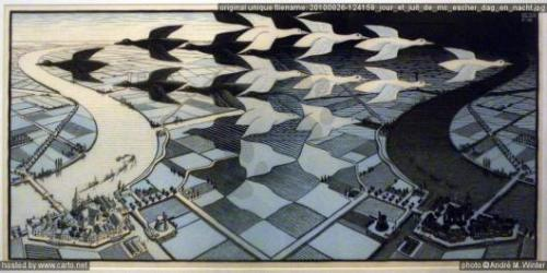 imagen: Carto.net  Jour et Nuit  artista: Maurits Cornelis Escher (1938)