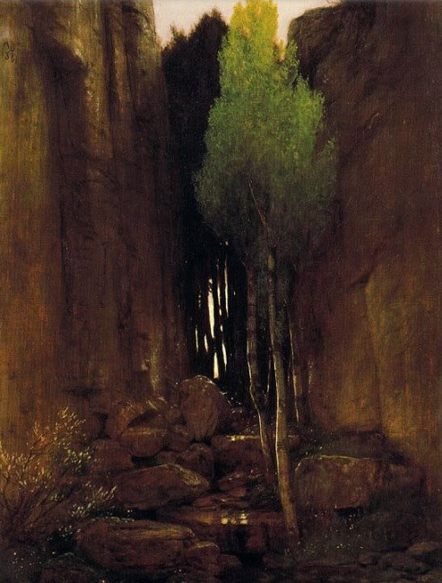 "imagen:  ""Source between two rock walls"", 1881  artista: Arnold Böcklin"