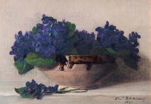 imagen: Petitgaleriedart.blogspot.com   artista: Elizabeth Whitehead Violetas 1891 (Leamington Spa Art Gallery and Museum)