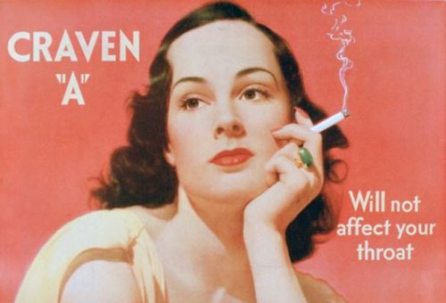 "ilustración: Telegraph.co.uk  aviso de cigarrillos Craven ""A"", 1939"