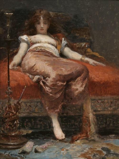 "pintura: The-athenaeum.org  artista: Fernand Cormon  ""Femme au Narguile"", 1878"