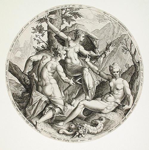 "imagen: Wikimedia.org artista: Jacob Matham? ""Las tres parcas"", 1587"