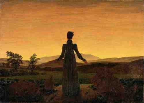 """imagen: Artseverydayliving.com artista: Caspar David Friedrich """"Frau vor der untergehenden Sonne"""", 1818, Museo Folkwang"""