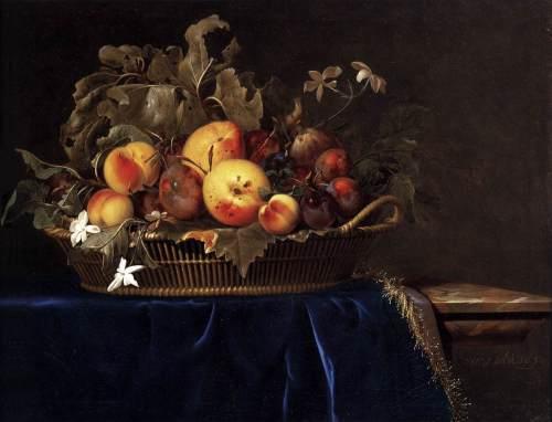 "imagen: Commons.wikimedia.org artista: Willem van Aelst  ""Naturaleza muerta con canasto de frutos en un estante de mármol"", 1650"