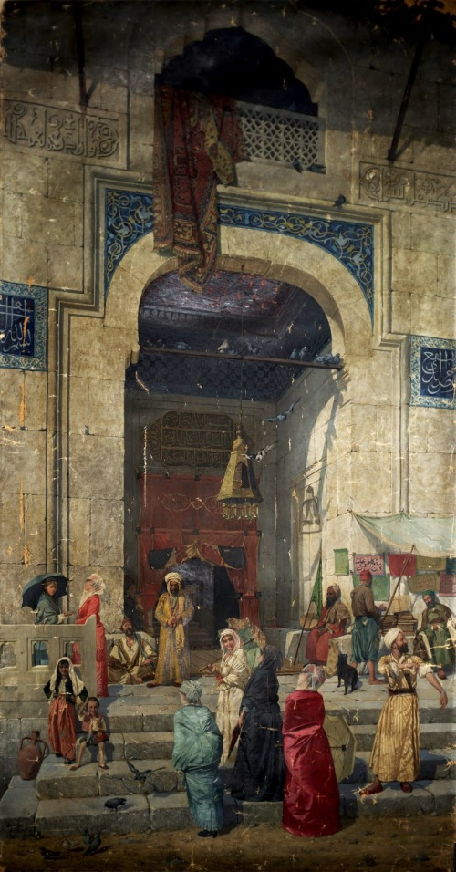 imagen: Ottomanhistorypodcast.com Osman Hamdi Bey, At the Mosque Door, 1891, Oil on canvas, 203 x 123.5 cm, University of Pennsylvania Museum of  Archaeology and Anthropology