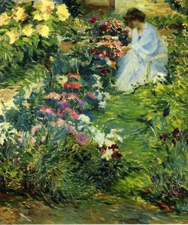 imagen: Bjws.blogspot.com Woman in a Garden  artista: John Leslie Breck (1860-1899)