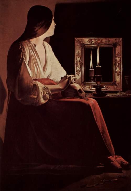 """imagen: Wikimedia.org  artista: Georges de La Tour, """"La Madeleine aux deux flammes"""", siglo XVII"""