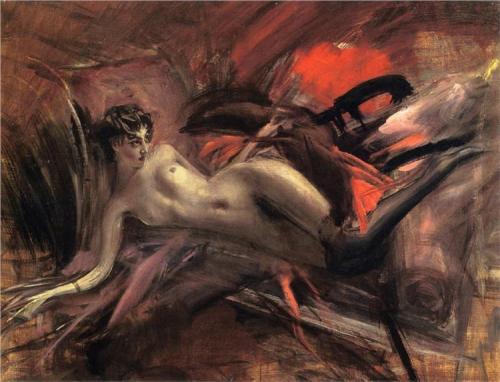 imagen: Wikipaintings.org  artista: Giovanni Boldini, Reclining nude, 1930
