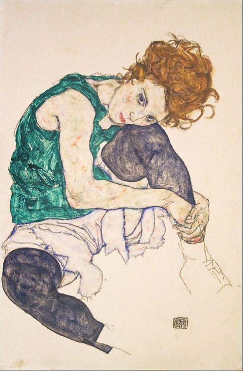 "foto: Commons.wikimedia.org artista: Egon Schiele, ""Mujer sentada con piernas levantadas"", 1917"