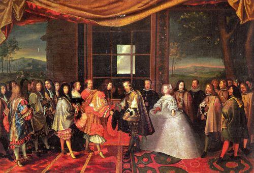 imagen: Commons.wikimedia.org  artista: Laumosnier Entrevista de Luis XIV de Francia y Felipe IV de España en la Isla de los Faisanes en 1659