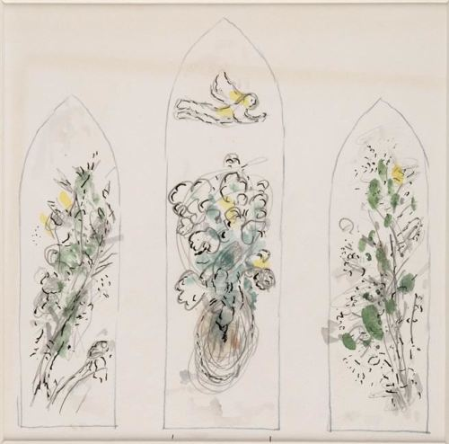 """imagen: Wikiart.org  artista: Marc Chagall  """"Arbustos y ángel"""", 1976"""