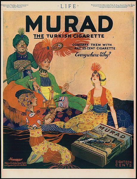 "imagen: En.wikipedia.org  Aviso publicitario de cigarrillos turcos ""Murad"", 1918"