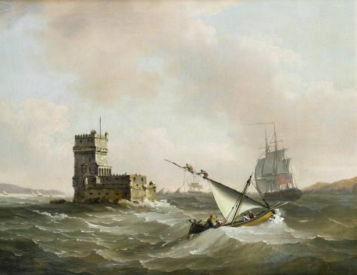 "imagen: Commons.wikimedia.org  artista: John Thomas Serres  ""Una fragata inglesa en aguas turbulentas en el Tajo pasando la Torre de Belén"", 1823"
