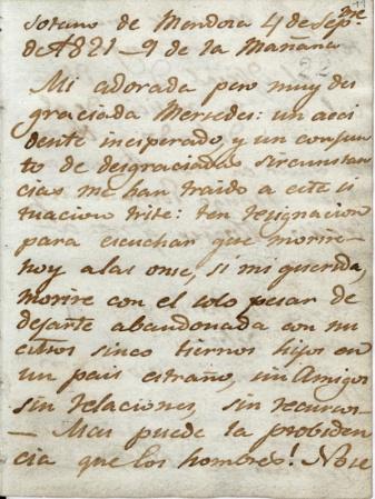 foto: Archivonacional.cl  Carta de despedida escrita por José Miguel Carrera a su esposa (1821) en la ciudad de Mendoza, Archvo Nacional de Chile