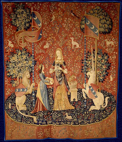 """imagen: en.wikipedia.org """"La Dama y el Unicornio"""", tapiz francés del siglo XV"""