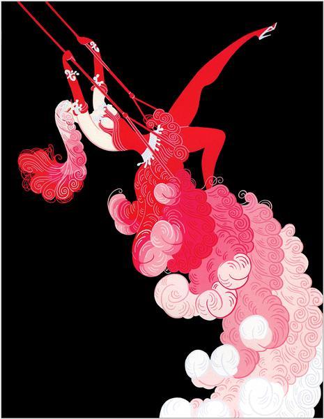 """imagen: Wikiart.org  artista: Erté (Romain de Tirtoff)  """"En el teatro -  Trapecio"""""""