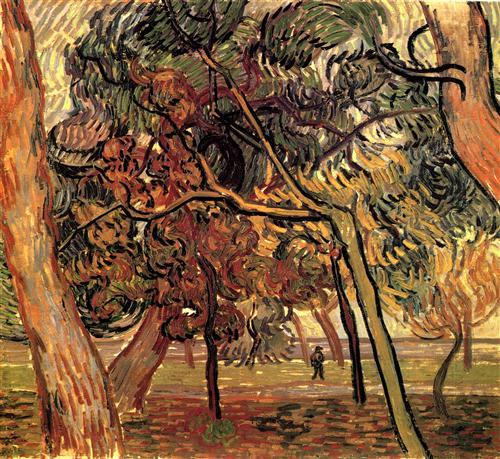 """imagen: Wikiart.org artista: Vincent van Gogh  """"Estudio de pinos"""", 1889"""
